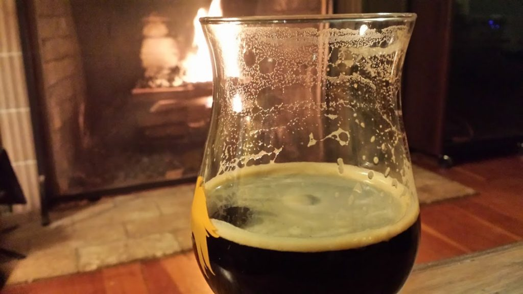 beer in front of fire